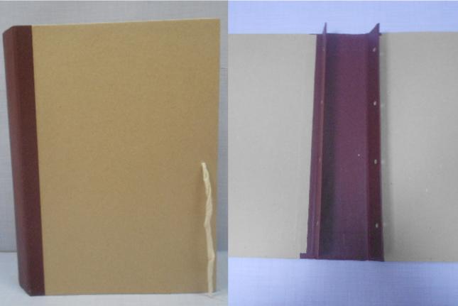 Архивная папка с завязками оклеенная крафтом. Внутри 2 гребешка (4 отверстия) для подшивки документов. Корешок из бумвинила.